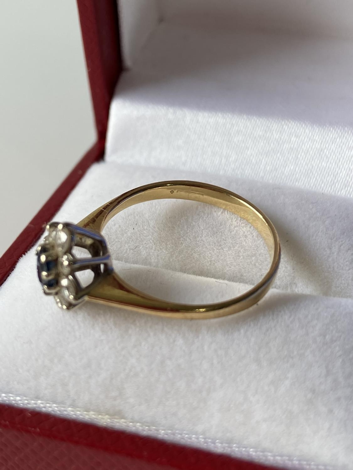 A ladies gold [possibly 18ct] ring set with a single sapphire & diamond ring, surrounded by 8 - Image 11 of 12