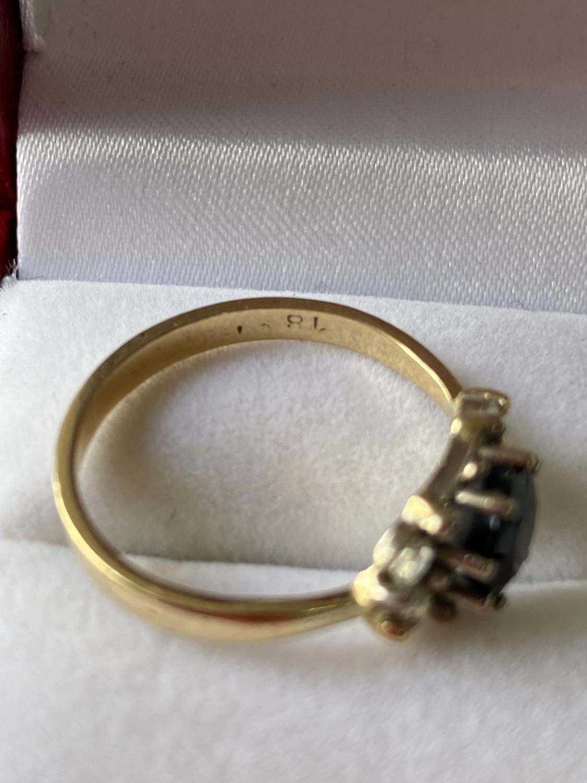 An 18ct gold ladies sapphire & diamond set ring [diameter 6mm] [size M] [2.89g] - Image 10 of 10