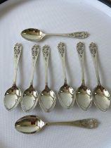 A set of 8 Edinburgh silver thistle design tea spoons, [Francis Howard Ltd] [63.75g]
