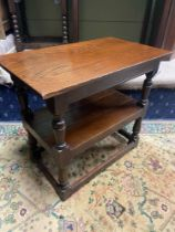 A 17th century style oak joint three tier console table. A piece from Liberton Tower [70X79X46CM]