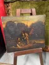 An 18th/ 19th century oil painting on canvas depicting three gentleman discussing their catch. [44.