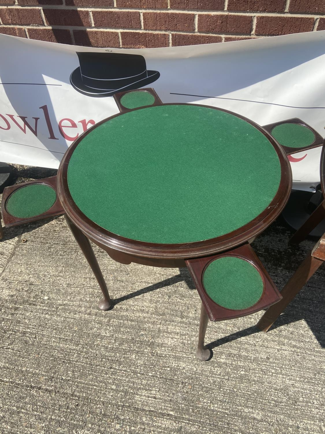 Antique card table/serving table [75x67cm] - Image 4 of 4