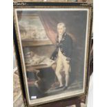 An early 19th century coloured engraving of Commodore Sir Daniel Dance, fitted within a black and