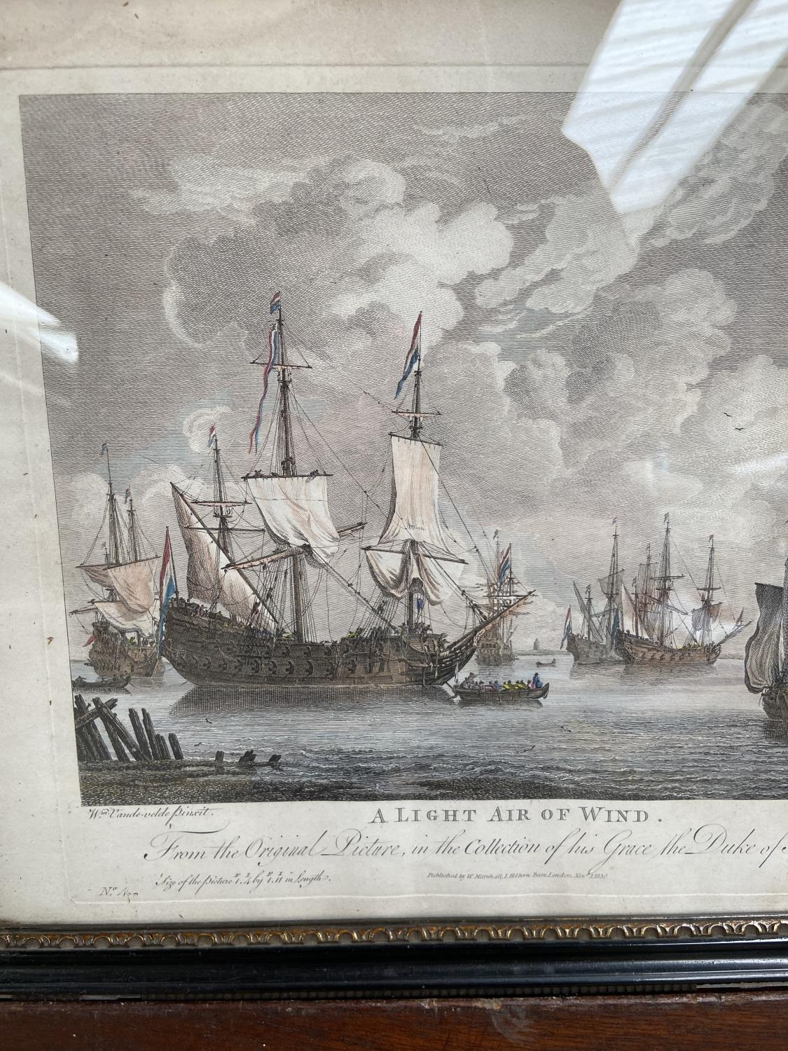 A lot of two 1830's coloured engravings, depicting galleons at sea, titled 'A Fresh Gale' & 'A Light - Image 4 of 5