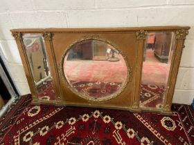A Large 18th/ Early 19th century gilt painted and moulded wreath over mantle mirror. Triple