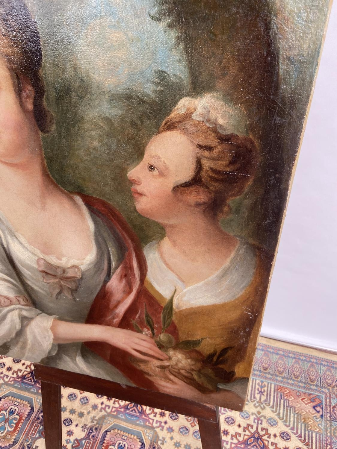 An 18th/19th century oil painting on canvas depicting two ladies posing [74x61cm] - Image 4 of 8