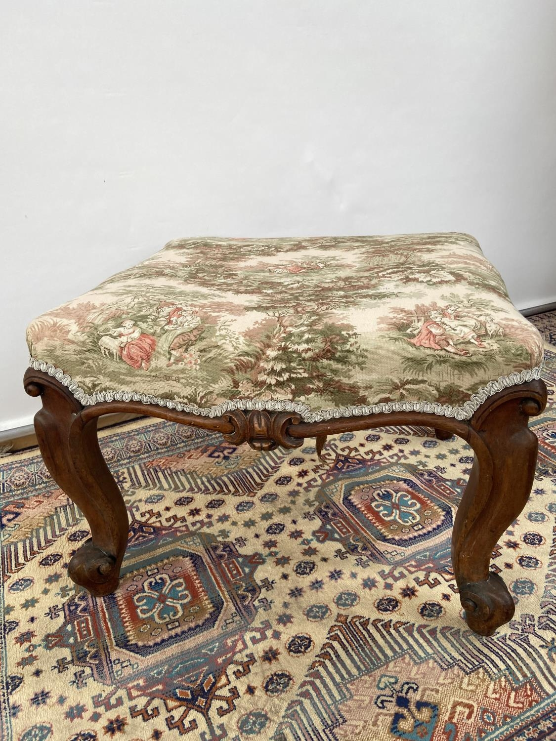 Victorian stool, upon four scroll design feet, upholstered tastefully [height, 40cm, width 56cm, - Image 3 of 5