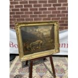 A 18th/19th century gilt moulded wooden frame, fitted with an old coloured print depicting an