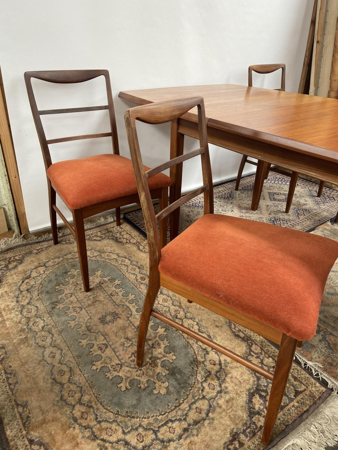 A Retro mid century teak dining table and four matching chairs produced by Vanson. [Table extended - Image 3 of 13