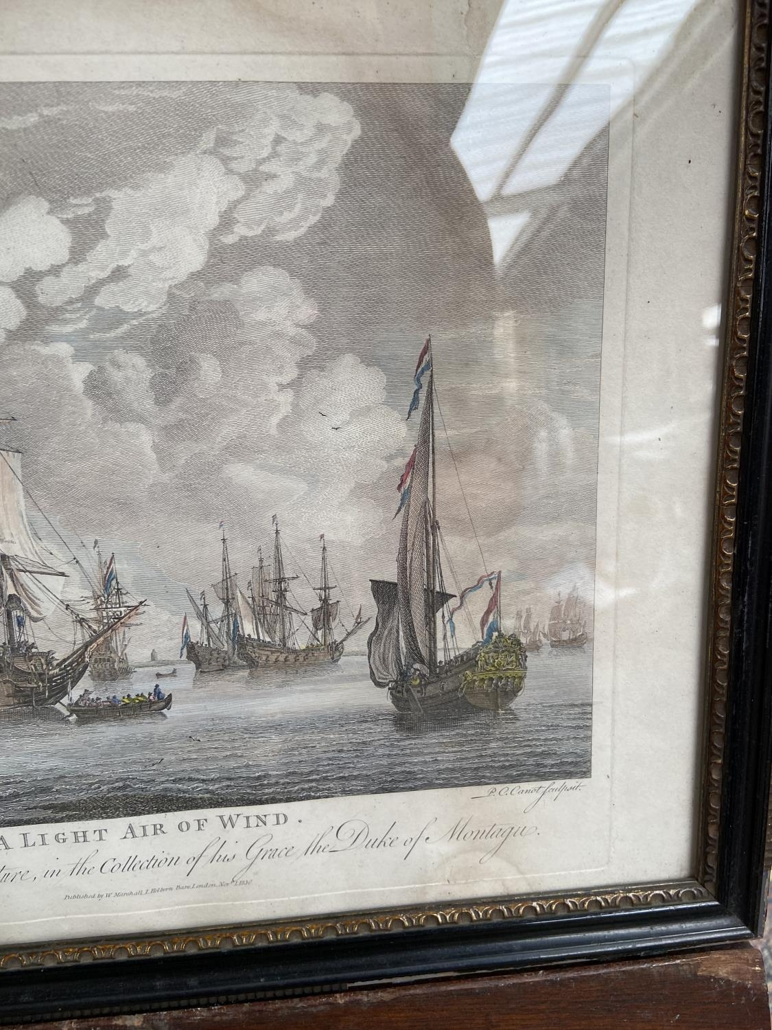 A lot of two 1830's coloured engravings, depicting galleons at sea, titled 'A Fresh Gale' & 'A Light - Image 5 of 5