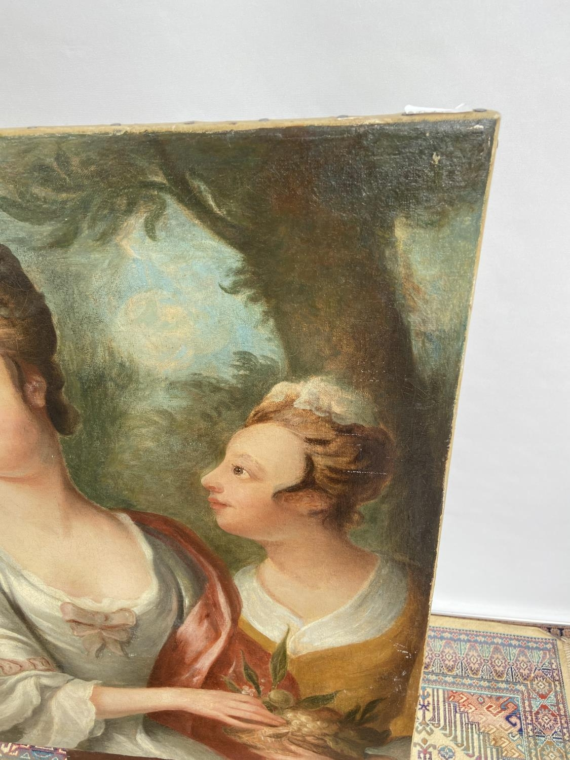An 18th/19th century oil painting on canvas depicting two ladies posing [74x61cm] - Image 3 of 8