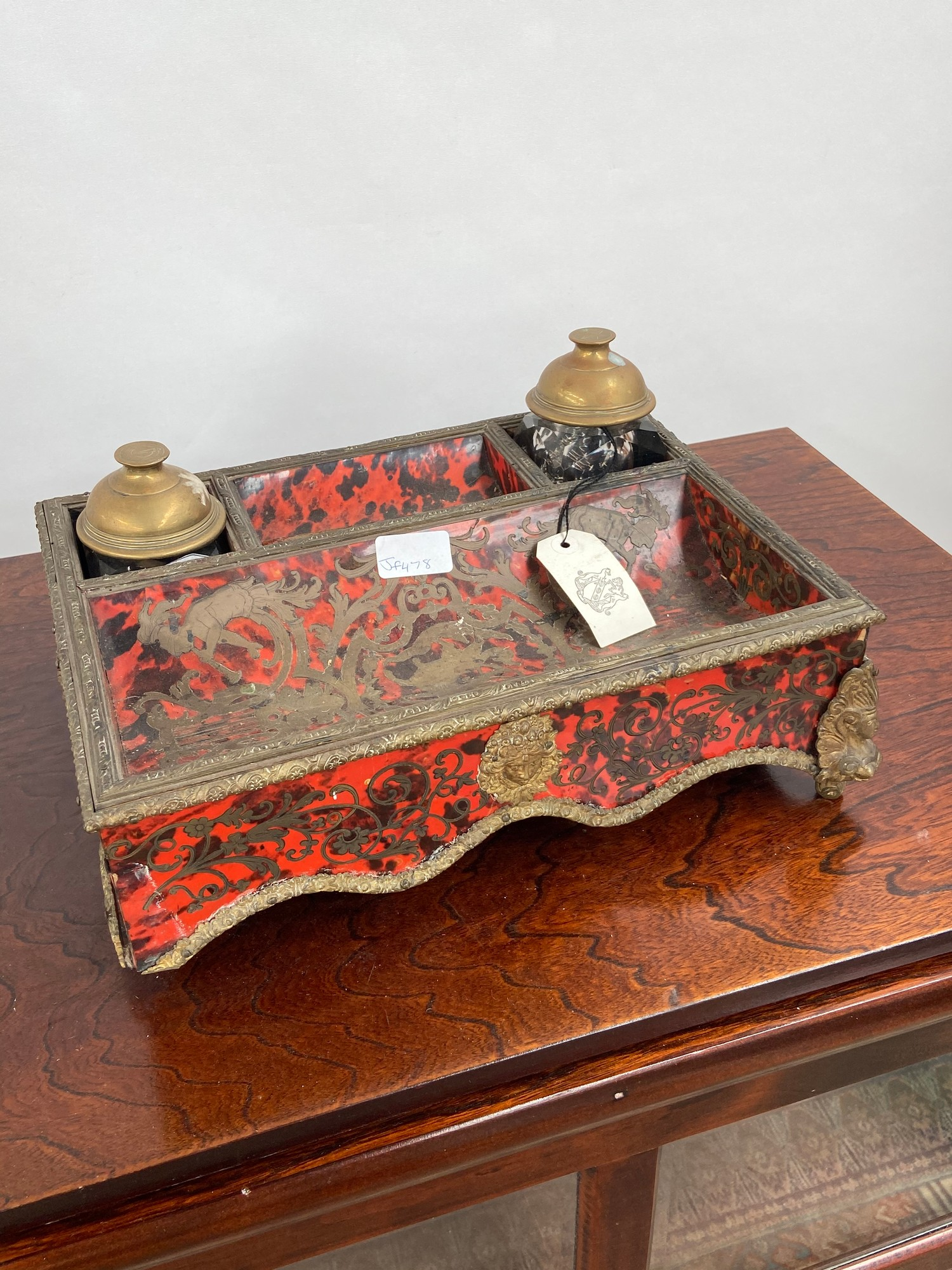 A 19th century French Boulle desk double inkwell stand. [missing a foot] [11x35x26cm]