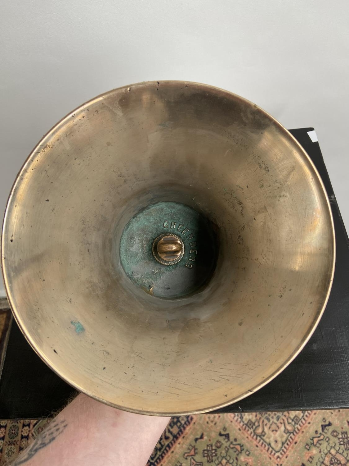 A Heavy antique hand bell. Stamped Greenberg to the inside. [Height 21cm, diameter 19cm] - Image 3 of 3