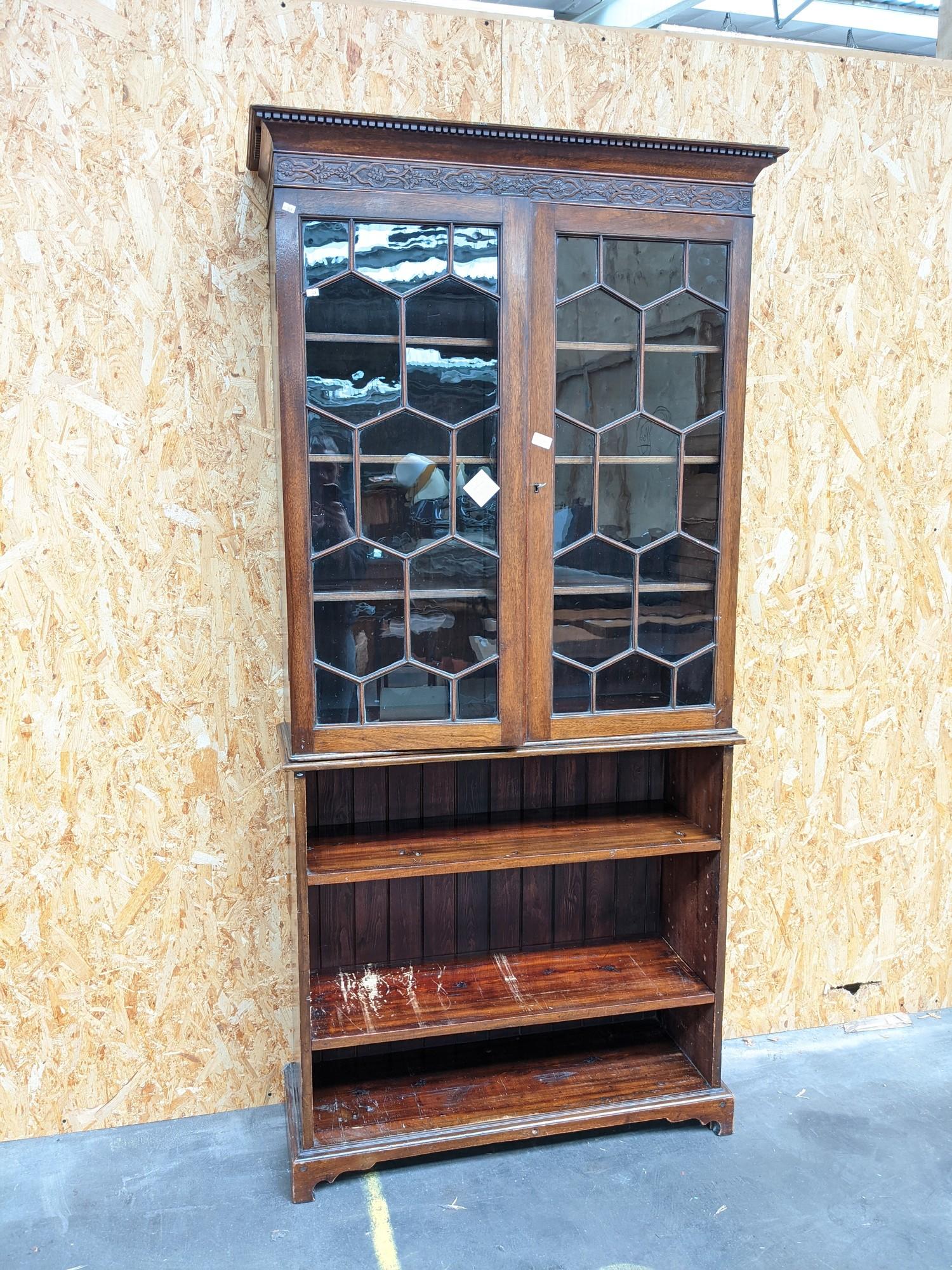 A display case/bookshelf [height, 2.07m, width, 96cm, depth, 34cm]