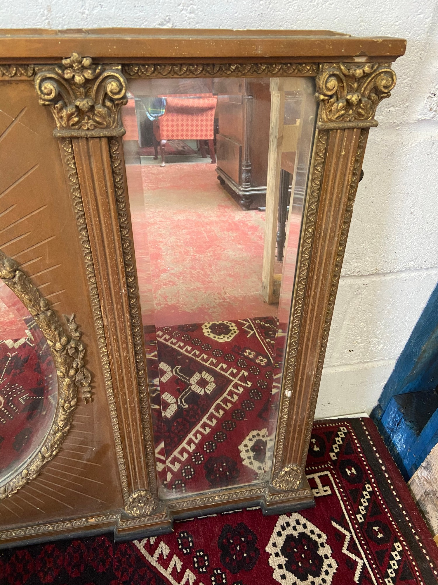 A Large 18th/ Early 19th century gilt painted and moulded wreath over mantle mirror. Triple - Image 2 of 4