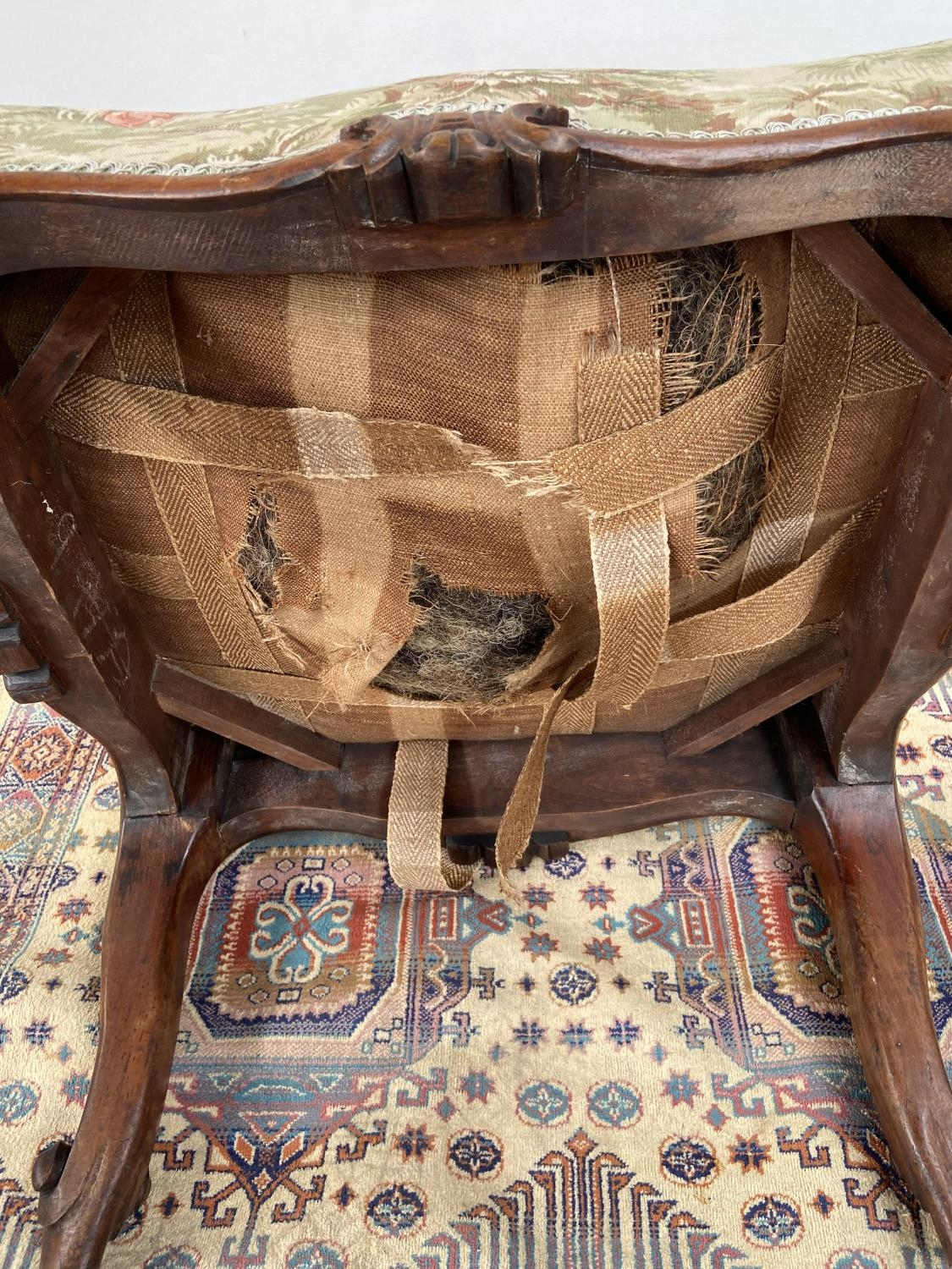 Victorian stool, upon four scroll design feet, upholstered tastefully [height, 40cm, width 56cm, - Image 5 of 5