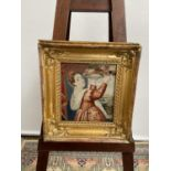 A 19th century tapestry depicting a lady of importance, fitted within a three dimensional gilt frame