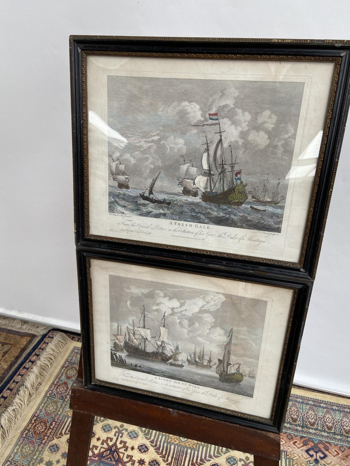 A lot of two 1830's coloured engravings, depicting galleons at sea, titled 'A Fresh Gale' & 'A Light