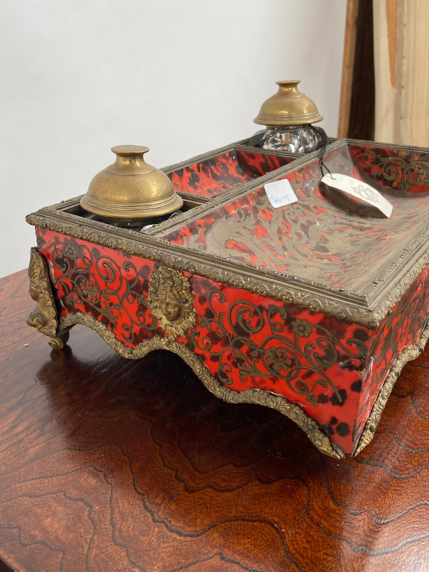 A 19th century French Boulle desk double inkwell stand. [missing a foot] [11x35x26cm] - Image 6 of 6
