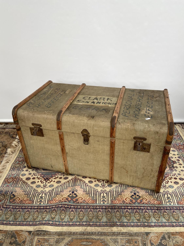 A vintage wooden bound steamer trunk [50x90x54cm]