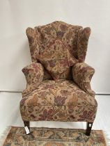 Antique gull wing arm chair. [back 114cm] [seat area 50cm]