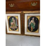A Pair of highly detailed hand painted Indian King and queen paintings. Fitted within gilt