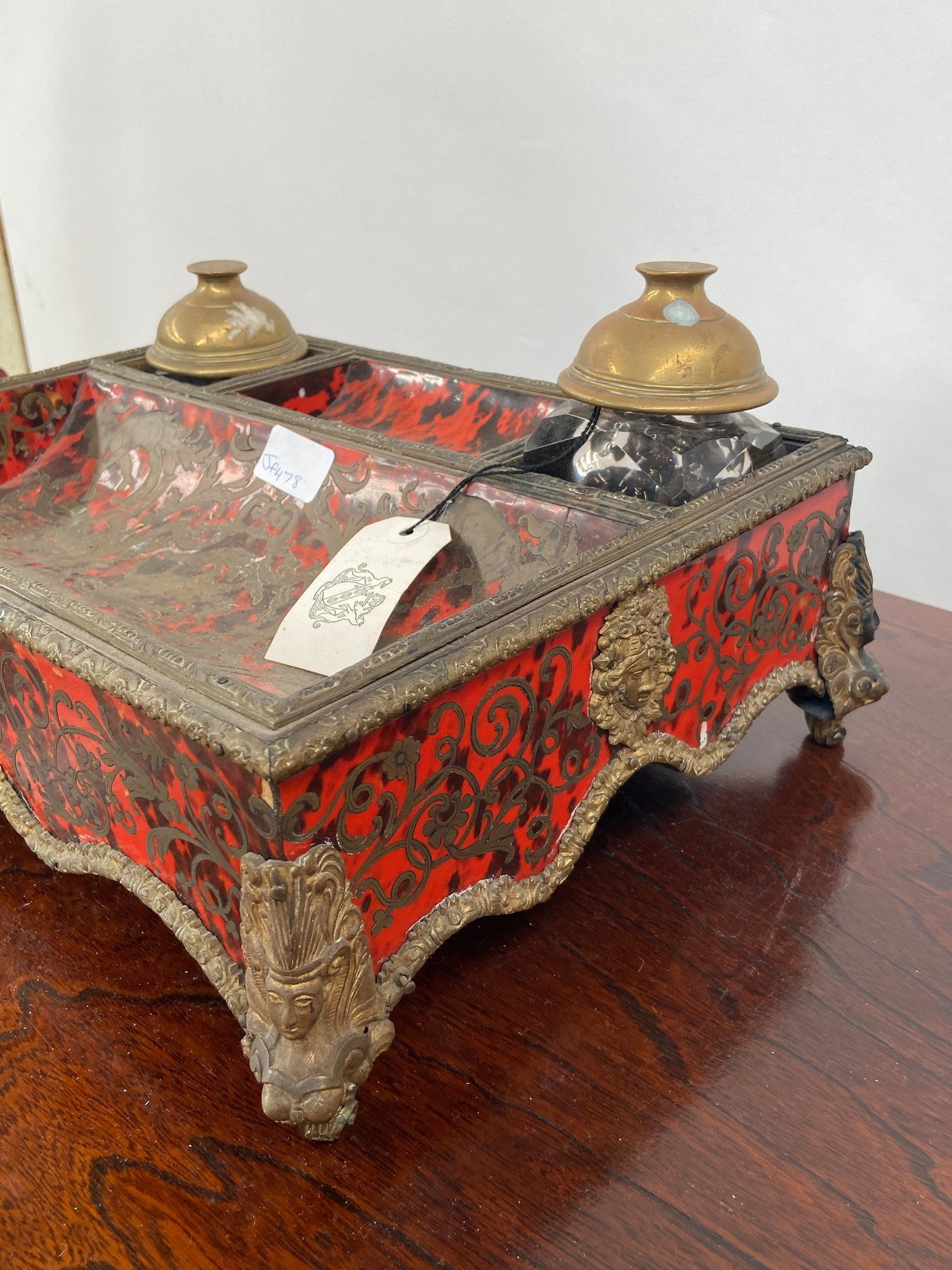 A 19th century French Boulle desk double inkwell stand. [missing a foot] [11x35x26cm] - Image 2 of 6