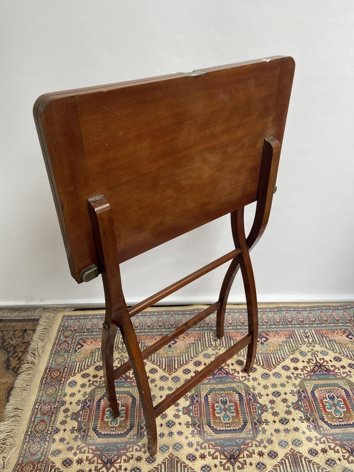 Antique Nawson Swan & Morgan folding card table/ writing table. [64cm in height, 75cm wide] - Image 4 of 6