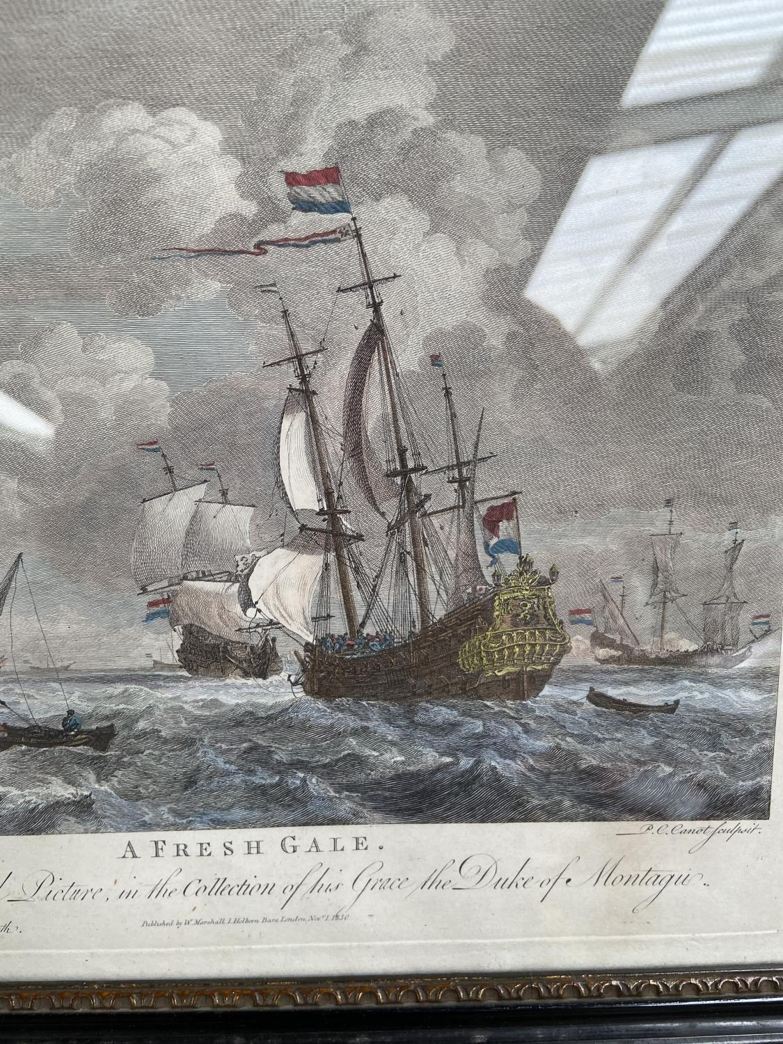 A lot of two 1830's coloured engravings, depicting galleons at sea, titled 'A Fresh Gale' & 'A Light - Image 3 of 5