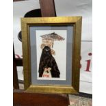 Barbara Robertson Woman, cat and umbrella Lionprint limited edition 11/120 [26x19.5cm]