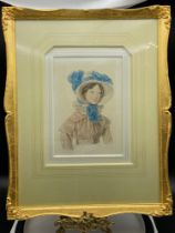A 19th Century original watercolour of a young lady 'Mrs Emily Sharpe, aged 17 years, 1813. 1893. [