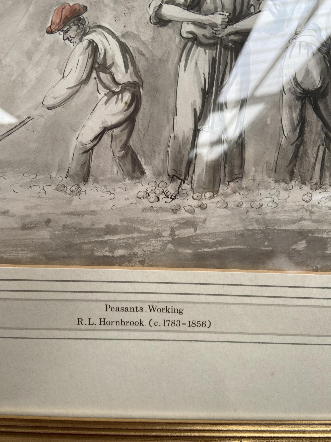 An original watercolour titled 'Peasants Working' by R.L Hornbrook [height, 40cm, width, 45cm] - Image 2 of 2