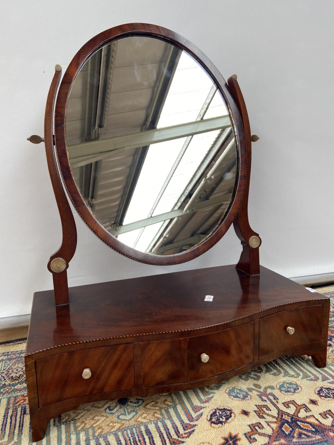 A Victorian dressing table mirror, upon a 3 drawer platform, detailed with ivory handles and a twist - Image 2 of 3