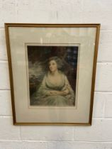 H Macbeth Raeburn R.A. Coloured Engraving of Mrs Crawford. Note to the back of the frame. Signed