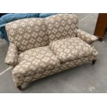 Antique two seat settee [in need of reupholster] [height, 92, width, 151, depth,78cm]
