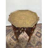 Indian trestle table & gilt brass ornate top[62x51x51cm]