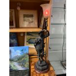A Victorian Spelter Cavalier figurine table lamp. Designed holding a lance which is topped by the
