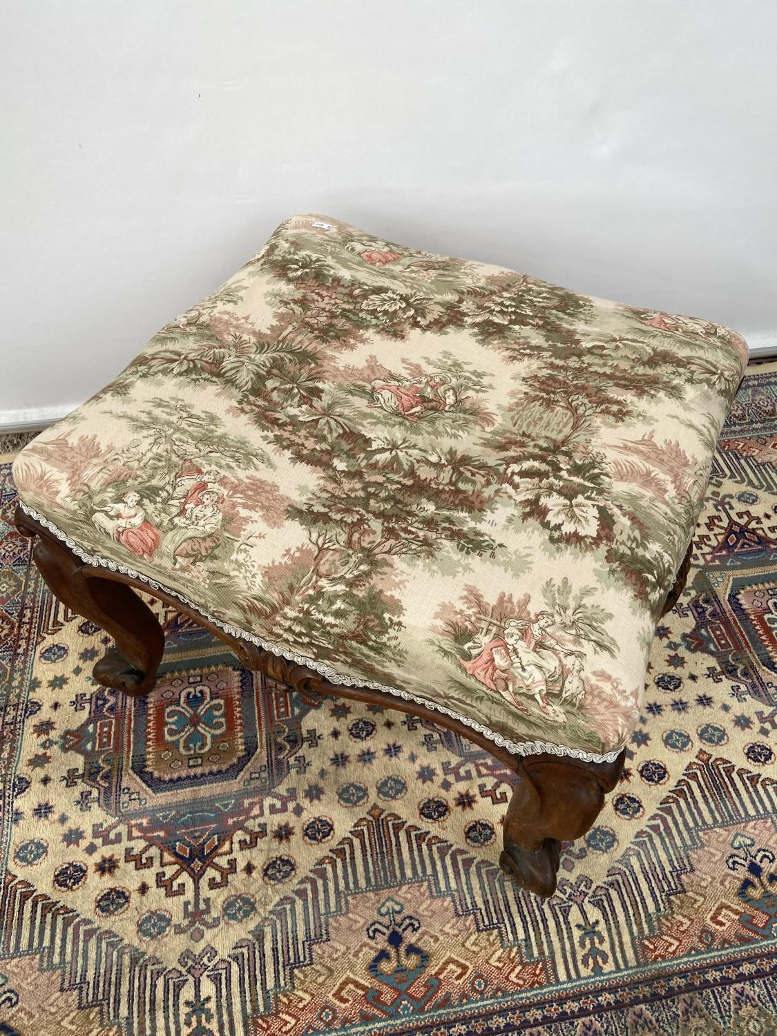 Victorian stool, upon four scroll design feet, upholstered tastefully [height, 40cm, width 56cm, - Image 2 of 5