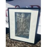 A Vintage engraving Print depicting angle figure, signed L. Rodie [53x45cm]