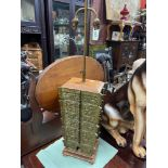 An Antique heavy Chinese Bronze Table Lamp. Designed with a rise and fall mechanism. [90cm]