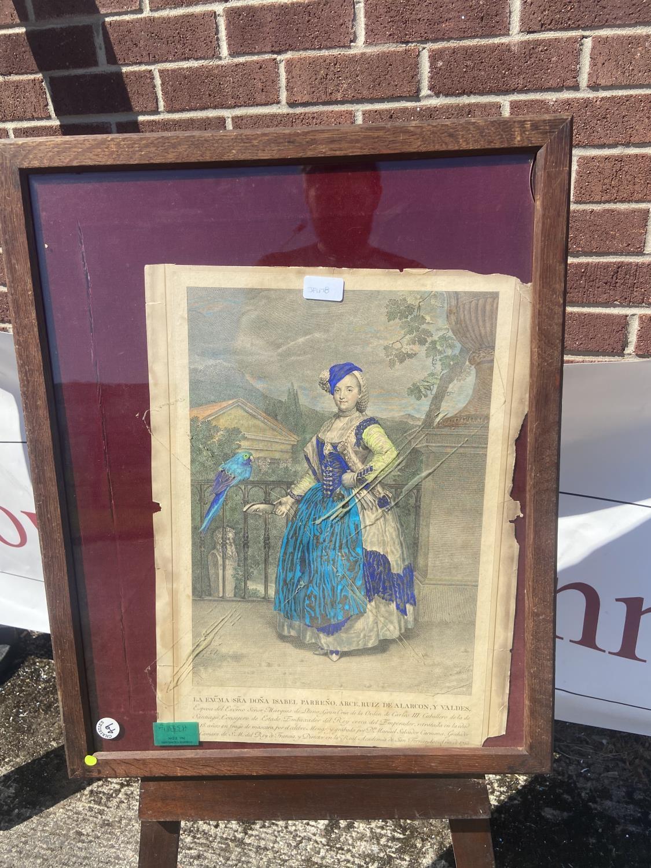 Old 19th century colour print depicting lady [67x54cm]