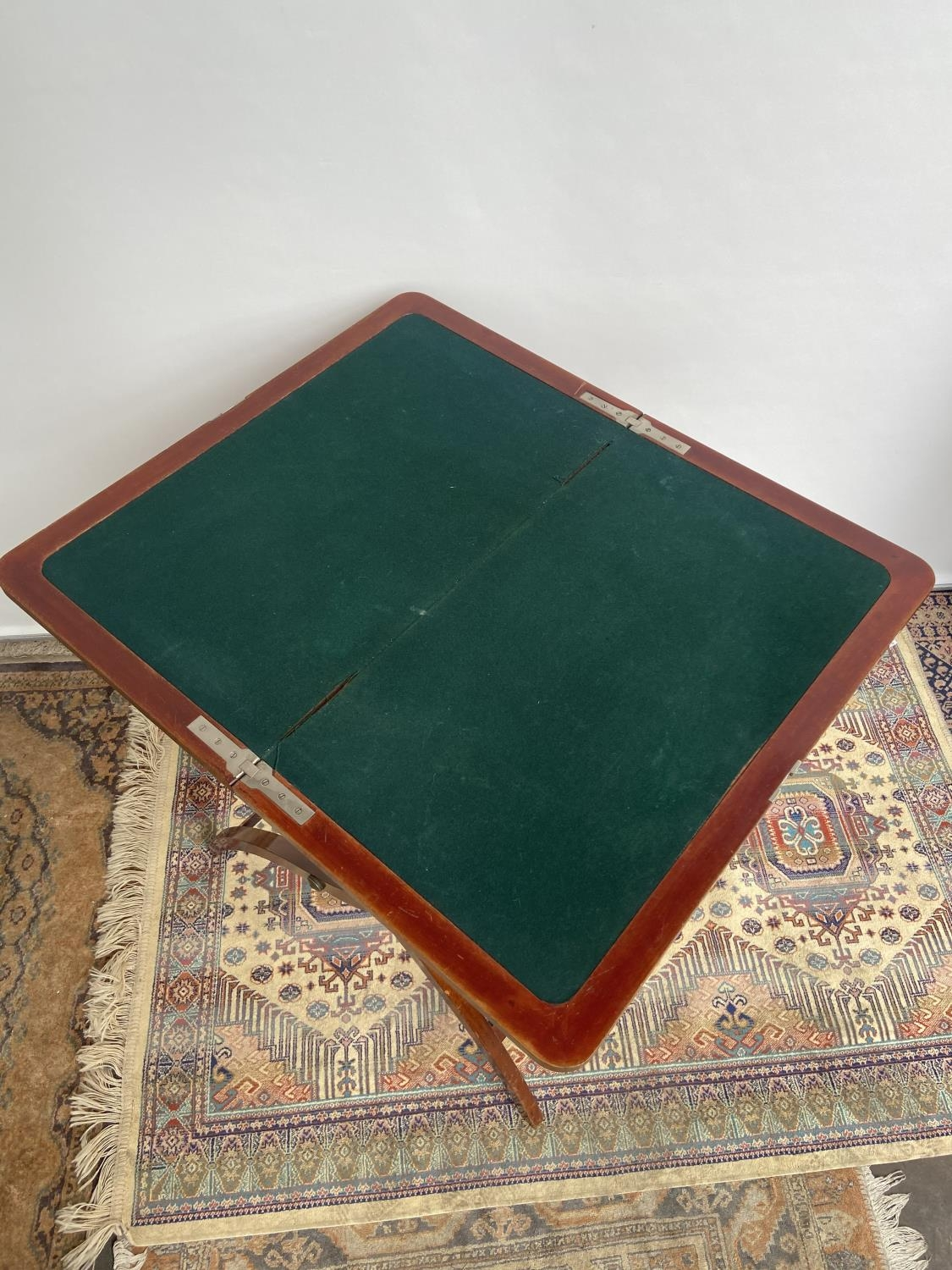 Antique Nawson Swan & Morgan folding card table/ writing table. [64cm in height, 75cm wide] - Image 2 of 6