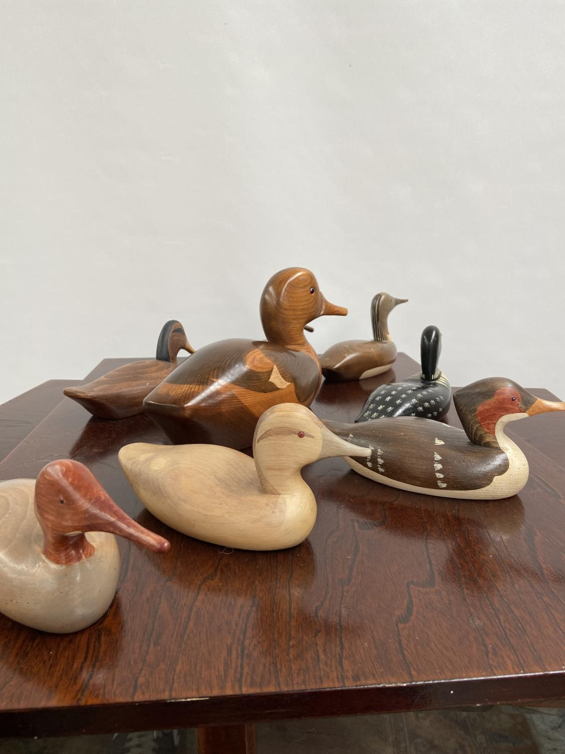 A Collection of hand carved wooden duck decoy sculptures by Jim Harkness. - Image 3 of 11