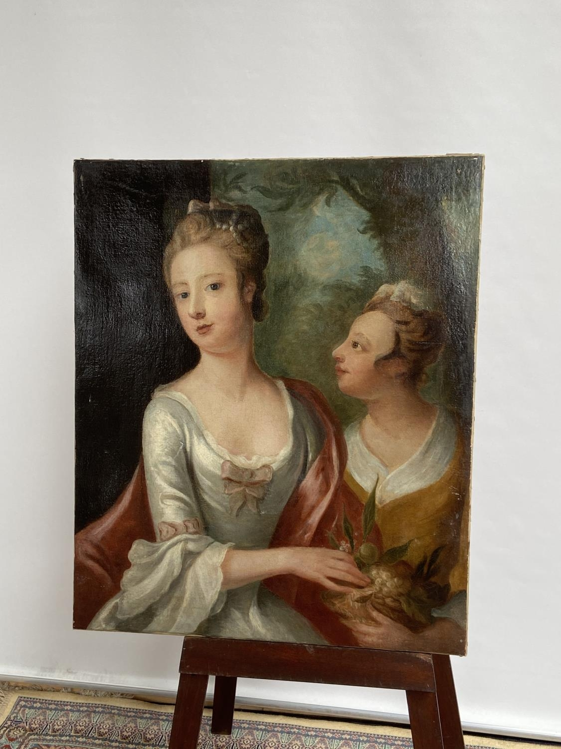 An 18th/19th century oil painting on canvas depicting two ladies posing [74x61cm] - Image 6 of 8