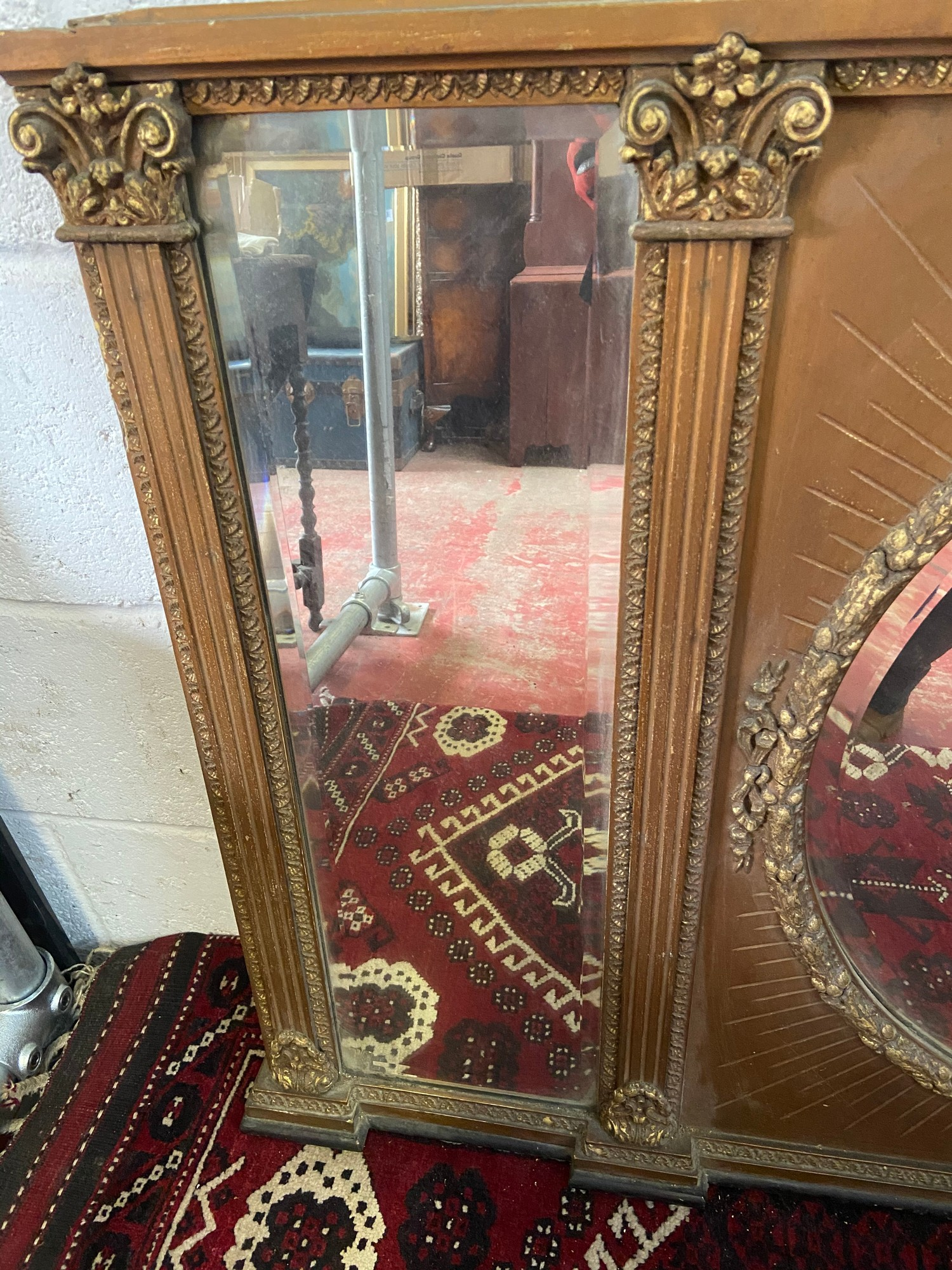 A Large 18th/ Early 19th century gilt painted and moulded wreath over mantle mirror. Triple - Image 4 of 4
