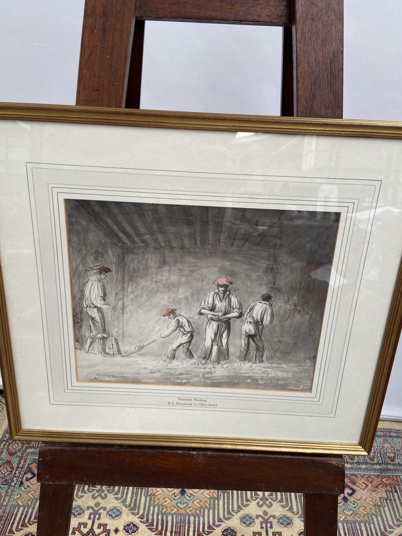 An original watercolour titled 'Peasants Working' by R.L Hornbrook [height, 40cm, width, 45cm]