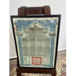 Antique Chinese Government bond for £100 styled in blue printing. Dated 1913. [frame 48x35cm]