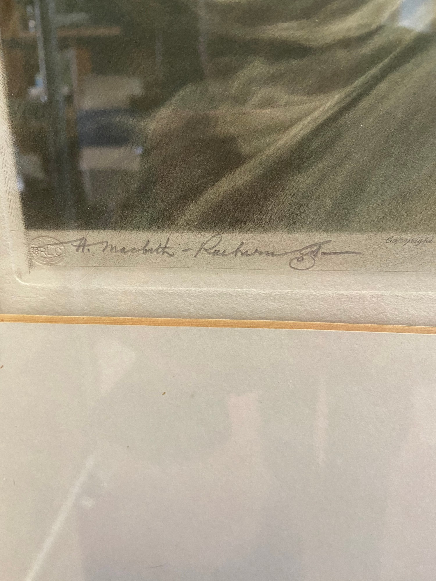 H Macbeth Raeburn R.A. Coloured Engraving of Mrs Crawford. Note to the back of the frame. Signed - Image 2 of 5