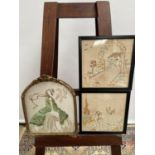 19th century silk tapestry depicting lady, fitted within a moulded gilt frame, together with two