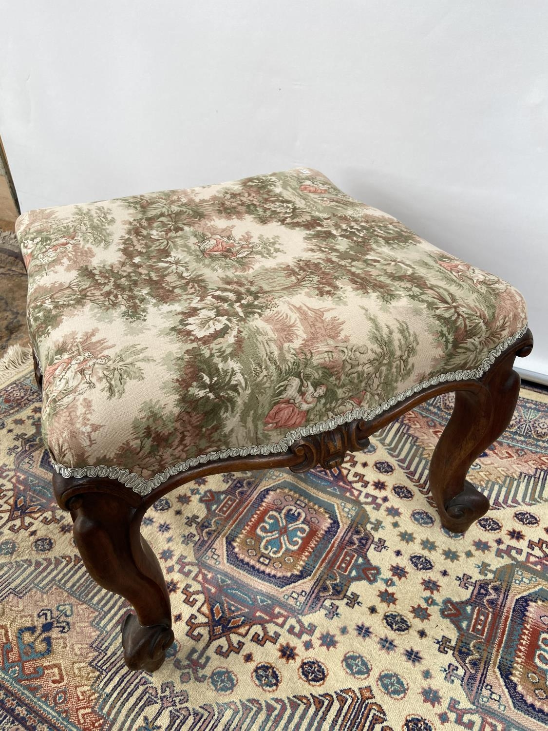 Victorian stool, upon four scroll design feet, upholstered tastefully [height, 40cm, width 56cm, - Image 4 of 5